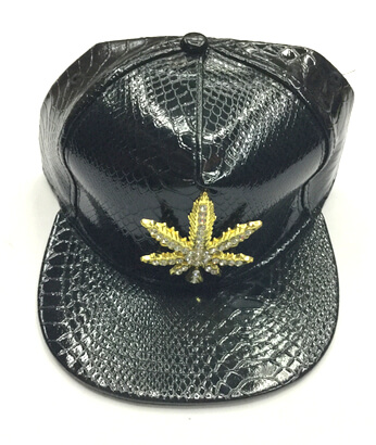 snake skin fake leather hats/caps, metal leaves buckle with stones, #0503-005