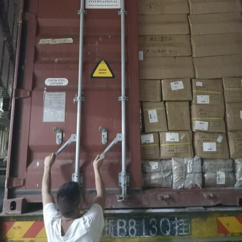 Container loaded and locked