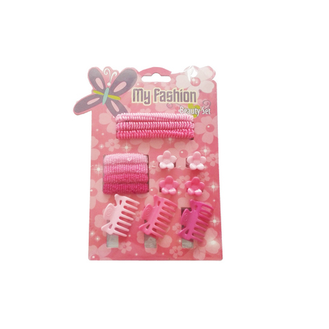 14 pcs girl hair accessories set: clip, band, comb, flower, cute