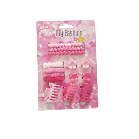 14pcs Set Girls Hair Accessories With Display Box, Pink