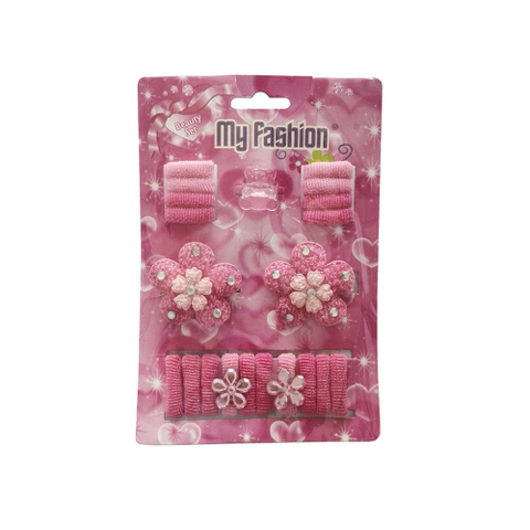 21pcs Set Girls Hair Accessories With Display Box, Pink. Bear, Flower