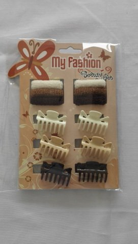Hair Accessories Set With Display Box, Brown 3