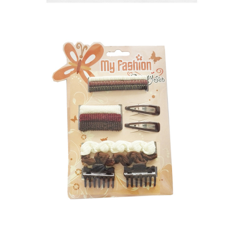 Hair Accessories Set With Display Box, Brown 10