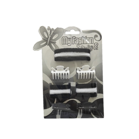 Hair Accessories Set With Display Box, Black & White 8