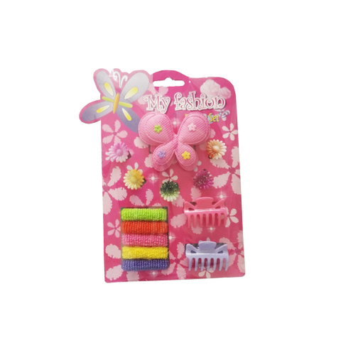 12pcs Kids Hair Accessories Set With Display Box, Pink