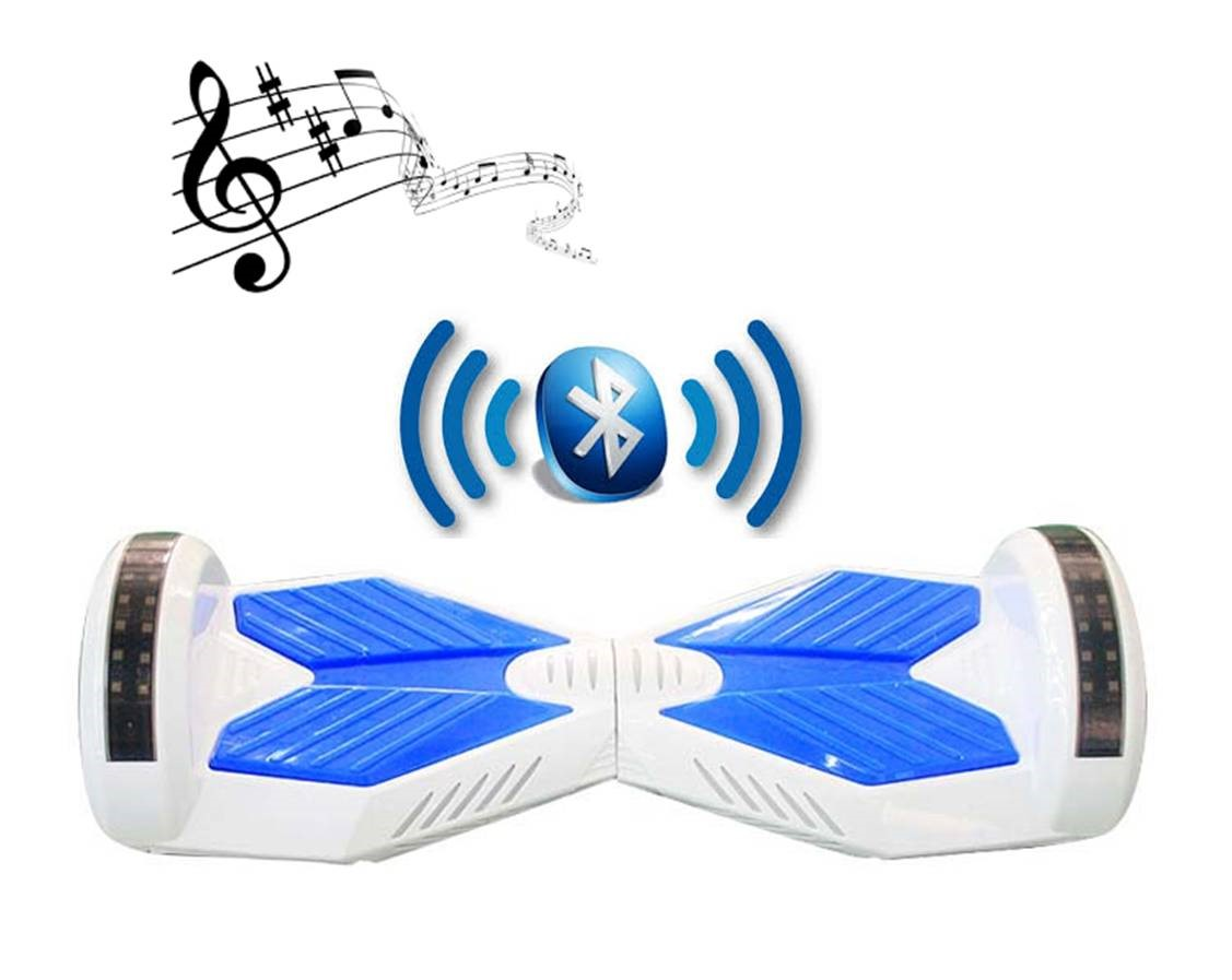 bluetooth hoverboard blue and white