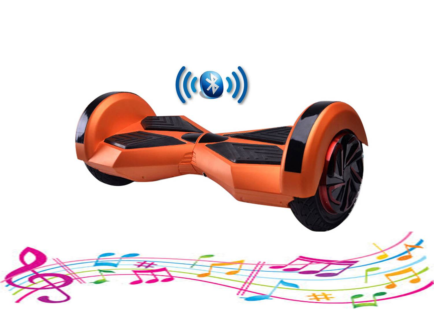 bluetooth hoverboard music neon brown