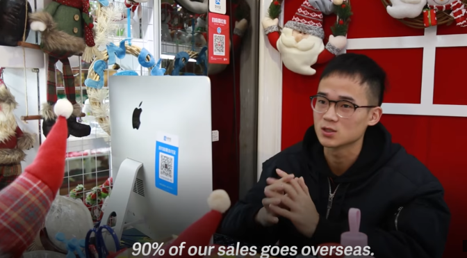 A Christmas decorations wholesaler in Yiwu market exports 90% of their products.