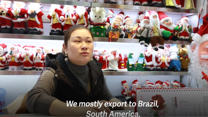 A wholesaler in Yiwu Christmas wholesale market exports most of their products to south America