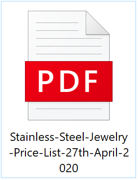 Stainless Steel Jewelry Wholesale Price List - 27th April, 2020