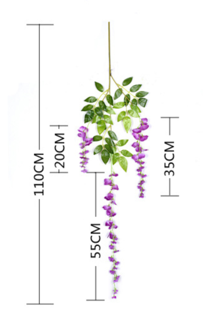 Classical Long Version wisteria artificial flowers wholesale in Yiwu China, for hang up / garland usage