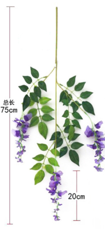 Short Version wisteria artificial flowers wholesale in Yiwu China, for hang up / garland usage